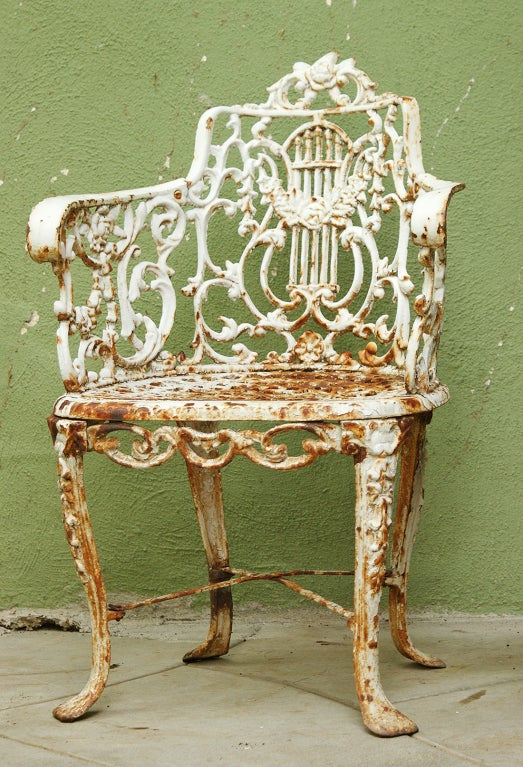 Pair Of Mid 19th Century Cast Iron Lyre Back Garden Chairs