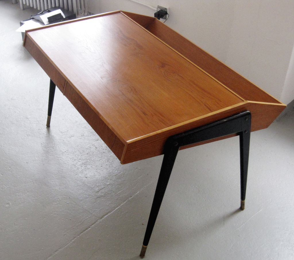 Carlo de carli laminated and ebonized wood desk at stdibs