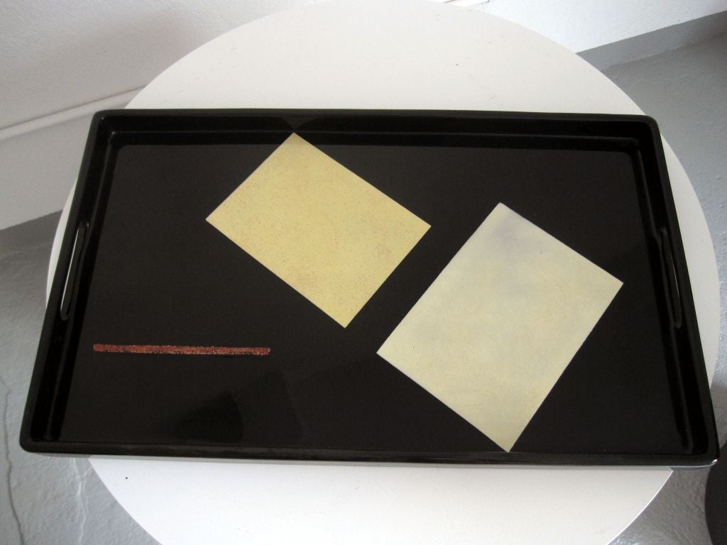 Very high quality lacquer and eggshell trays based on designs by Eileen Gray