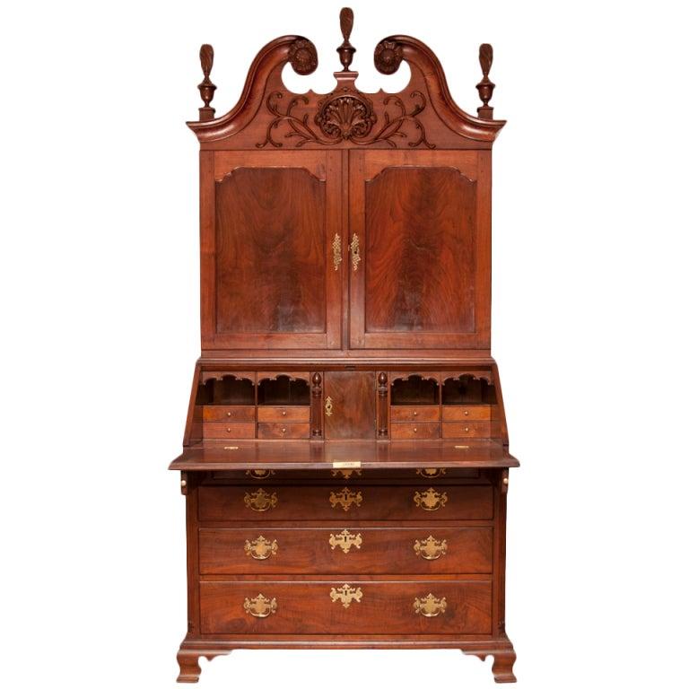 Walnut Chippendale Secretary Desk 1