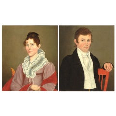 Pair of Folk Portraits by Possibly Ammi Phillips