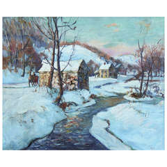 "Oil on Canvas Winter Landscape Entitled ""Mill"""