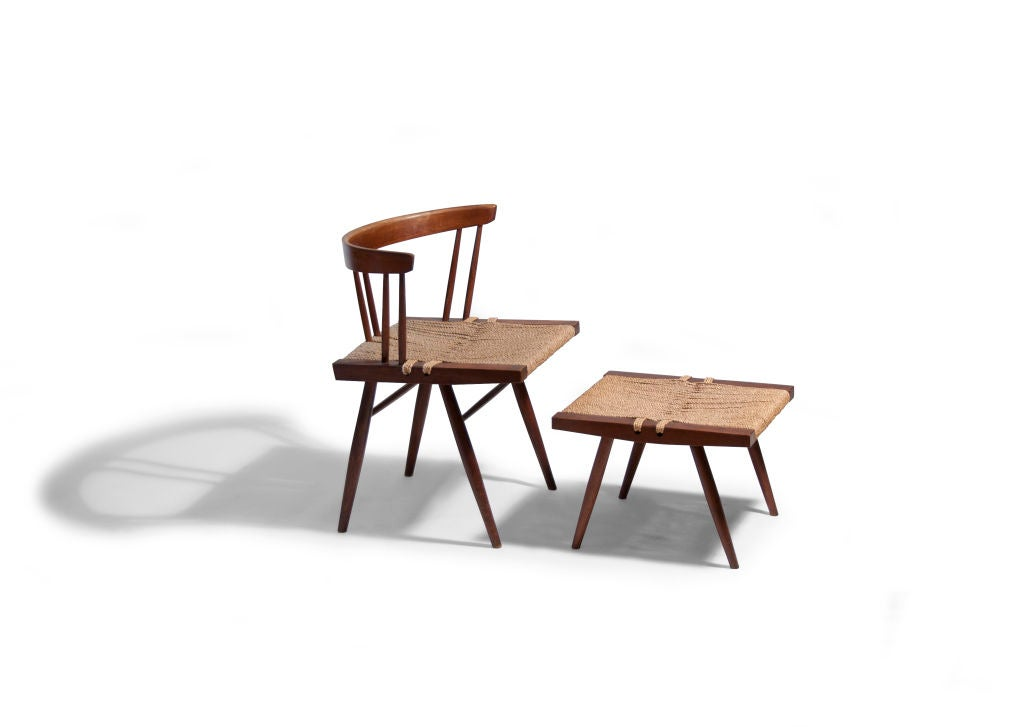 Nakashima Walnut Grass Seated Side Chair With Stool At 1stdibs