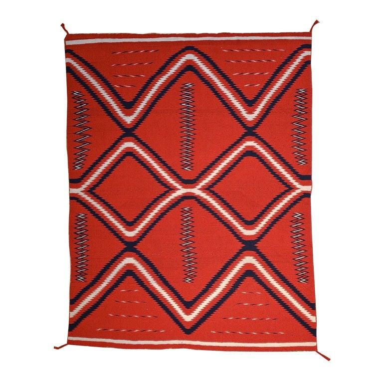 Late Classic Germantown Navajo Eyedazzler Blanket For Sale