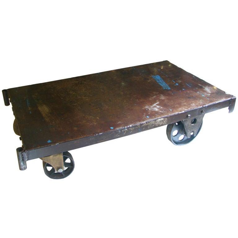 Industrial Steel Top Cart Coffee Table 277 At 1stdibs