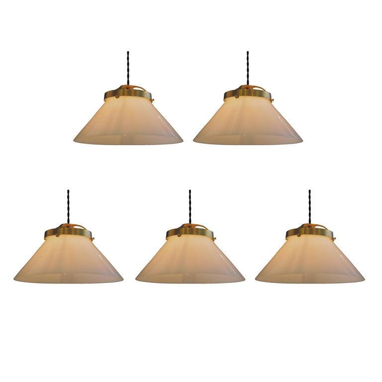 Set Of 5 Milk Glass High Hat Lighting Fixtures At 1stdibs