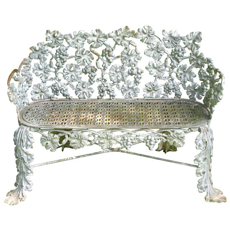 Victorian cast iron grape and leaf garden bench at 1stdibs for Cast iron garden furniture