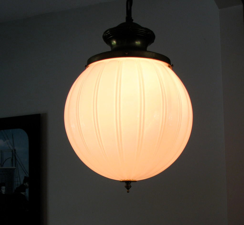 large scale ribbed glass globe light fixture at 1stdibs. Black Bedroom Furniture Sets. Home Design Ideas
