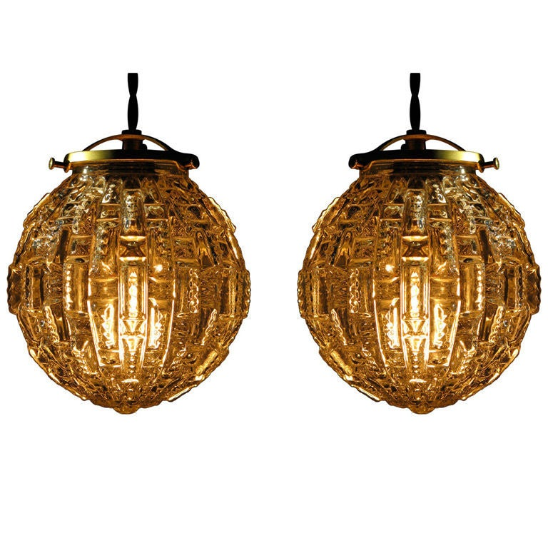 Pair Of Faceted Glass Globe Light Figures At 1stdibs