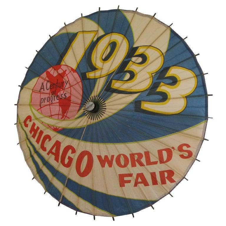 Graphic Chicago Worldu0026#39;s Fair Paper Umbrella 1933 at 1stdibs