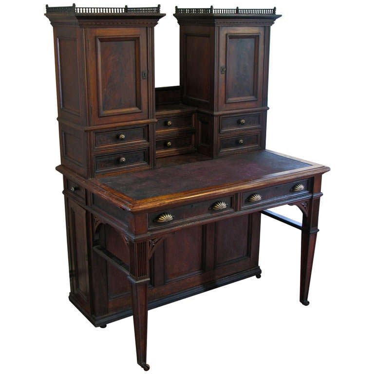 unusual walnut plantation writing desk curiosity cabinet