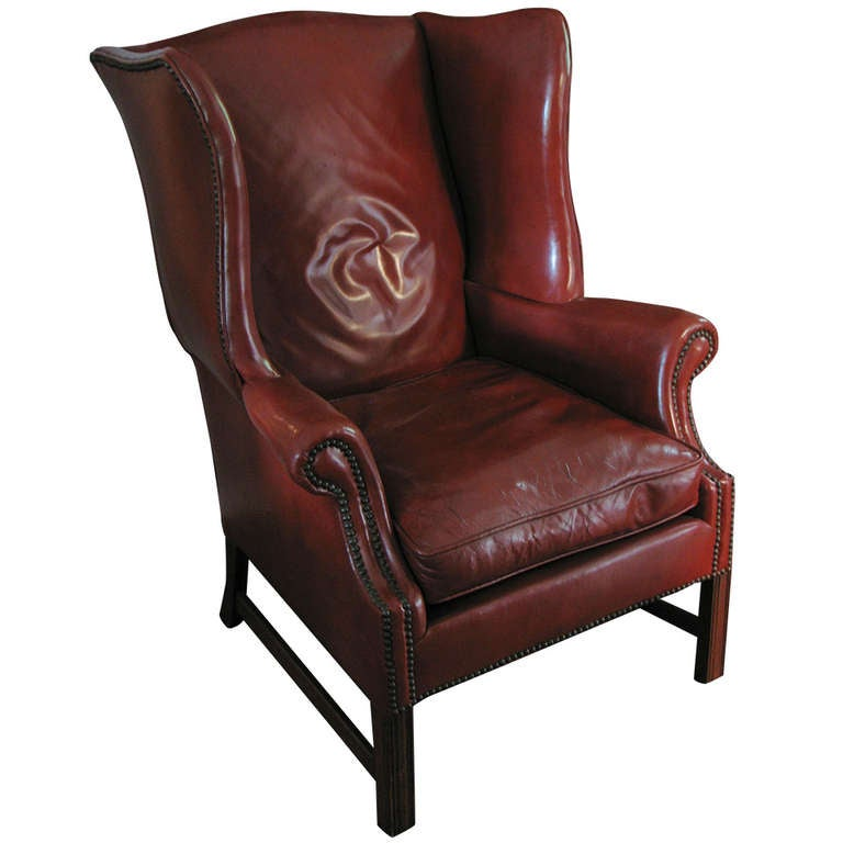 Leather wingback library chair deep cordovan color at 1stdibs - Library lounge chairs ...