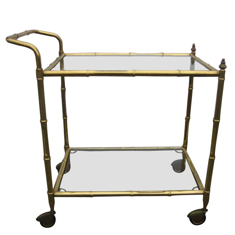 Faux Bamboo Brass Rolling Bar Cart At 1stdibs