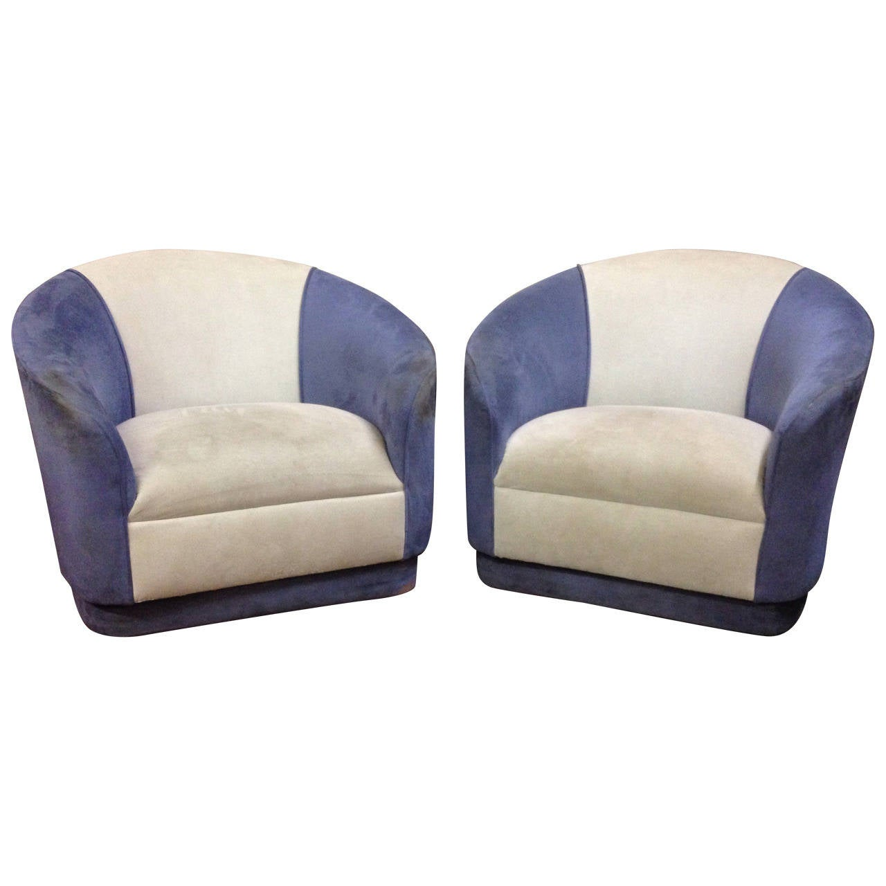 Pair of Swivel Barrel Chairs For Sale at 1stdibs