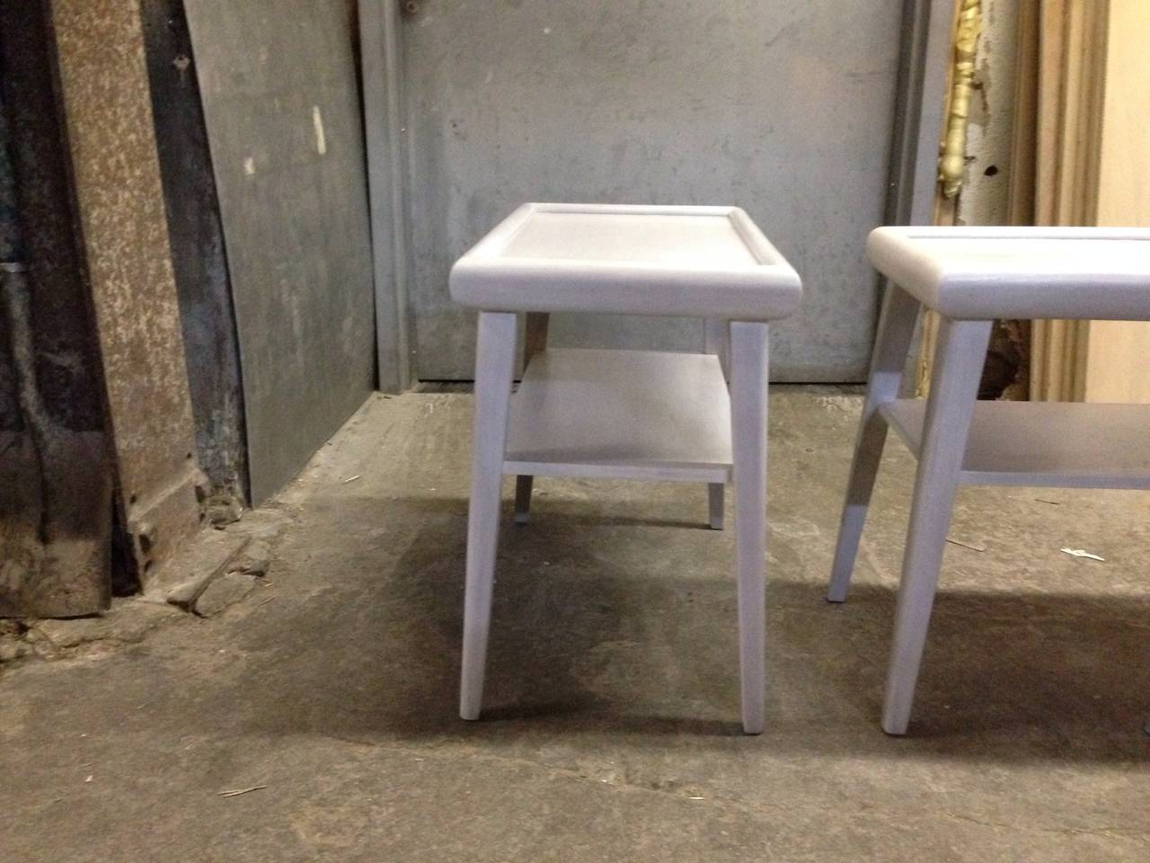 Pair Of White Washed Two-Tier End Tables At 1stdibs