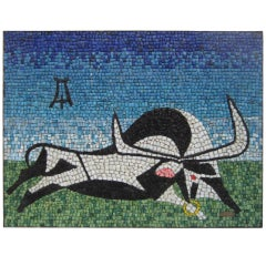 Taurus Tile Wall Decore, Signed