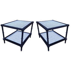 Pair of Two-Tier Black and White Cerused End Tables