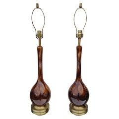 Pair of High Glazed Ceramic Lamps
