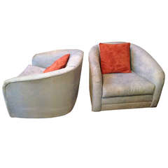 Pair Of Lucite Barrel Chairs With Leopard Print Seats At