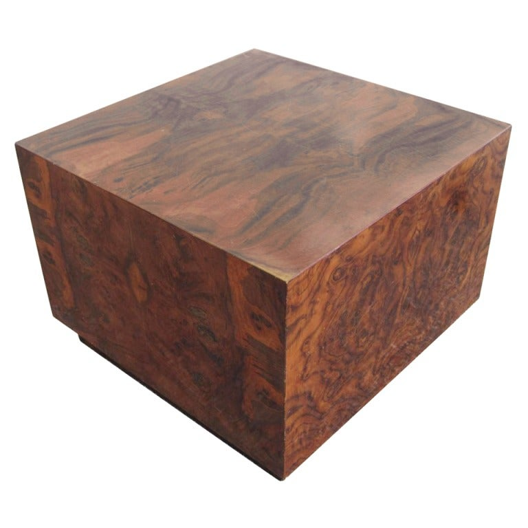 Tall burled square cocktail table at 1stdibs for Tall coffee table