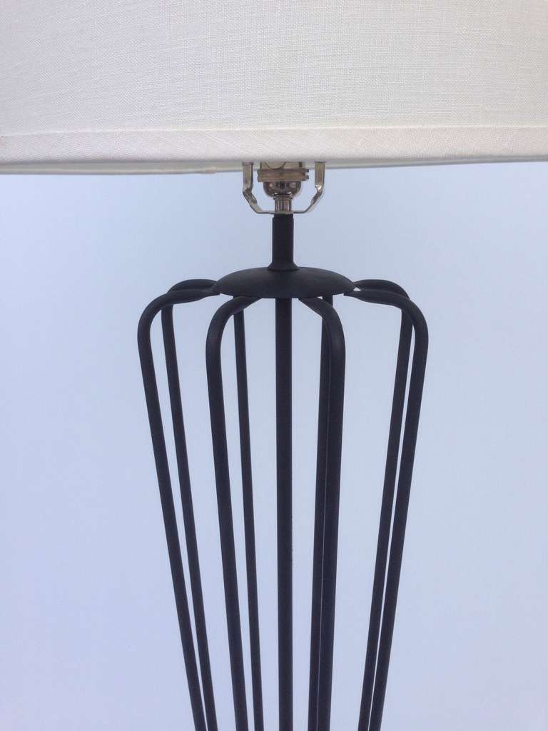 Elegant metal Mid-Century Modern floor lamp.