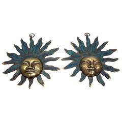 Pair of Signed Pepe Mendoza Sun God Ornament Wall Decorations
