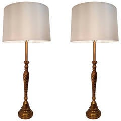 Handmade Pair of Tall Table Lamps by Maitland-Smith