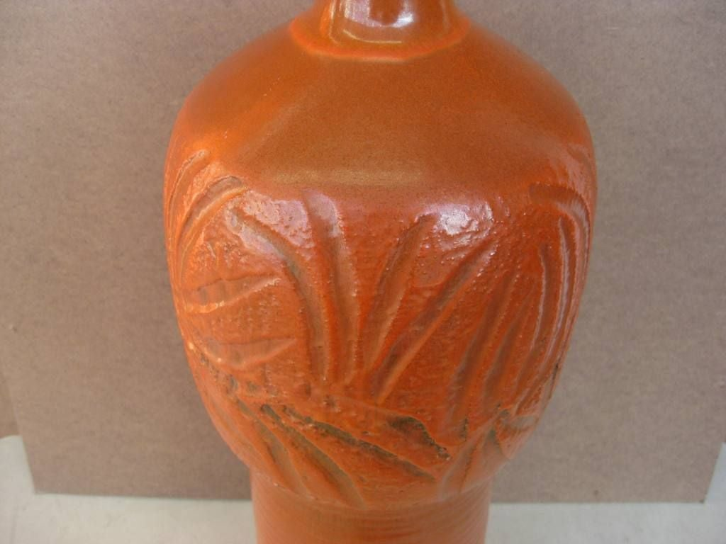 20th Century Signed Tall Mid-Century Modern Ceramic Vase Single Lamp Base For Sale