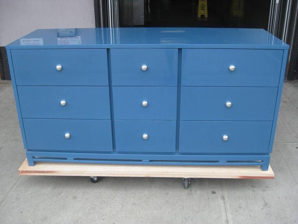 Signed Modernist Blue Lacquer Dresser 2