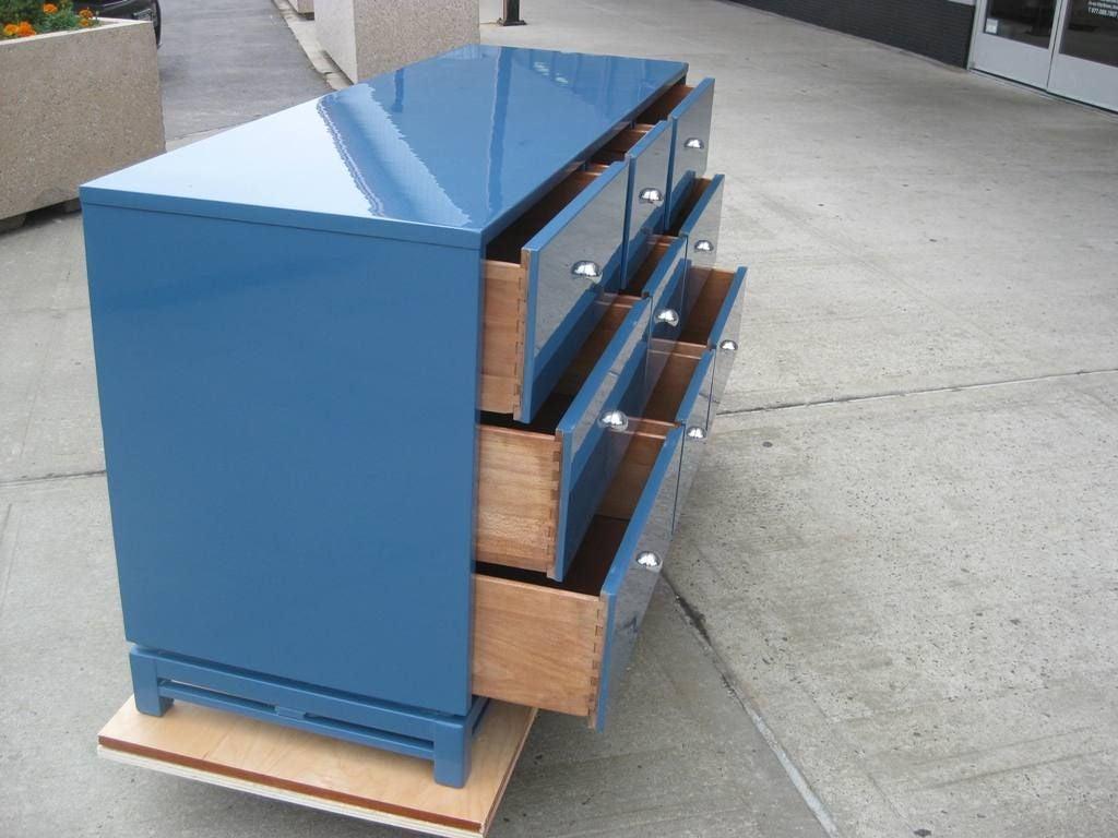 Signed Modernist Blue Lacquer Dresser 3