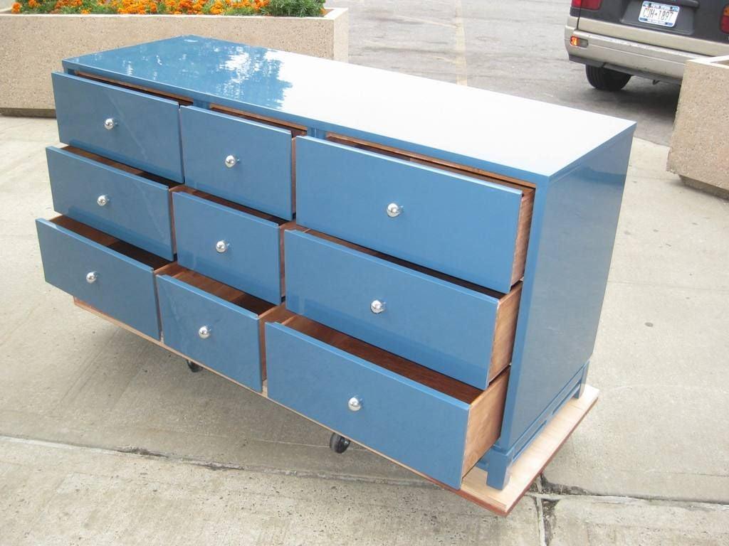 Signed Modernist Blue Lacquer Dresser 4