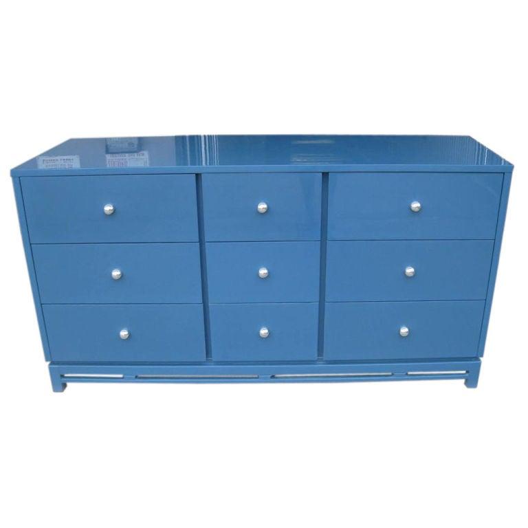 Signed Modernist Blue Lacquer Dresser 1