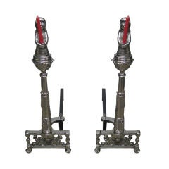 Pair of Angel Candelabra Andirons