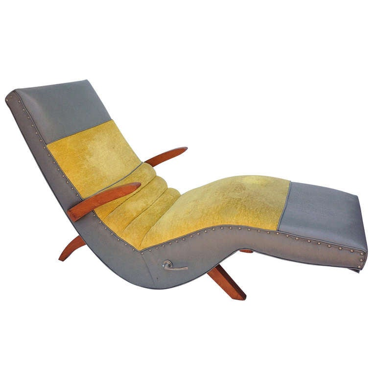 Reclining Wood and Upholstered Chaise Longue
