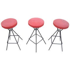 Set of Three-Bar Stools in the Manner of Frederic Weinberg