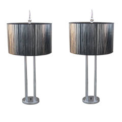 Tall Pair of Four Post Mid-Century Modern Table Lamps