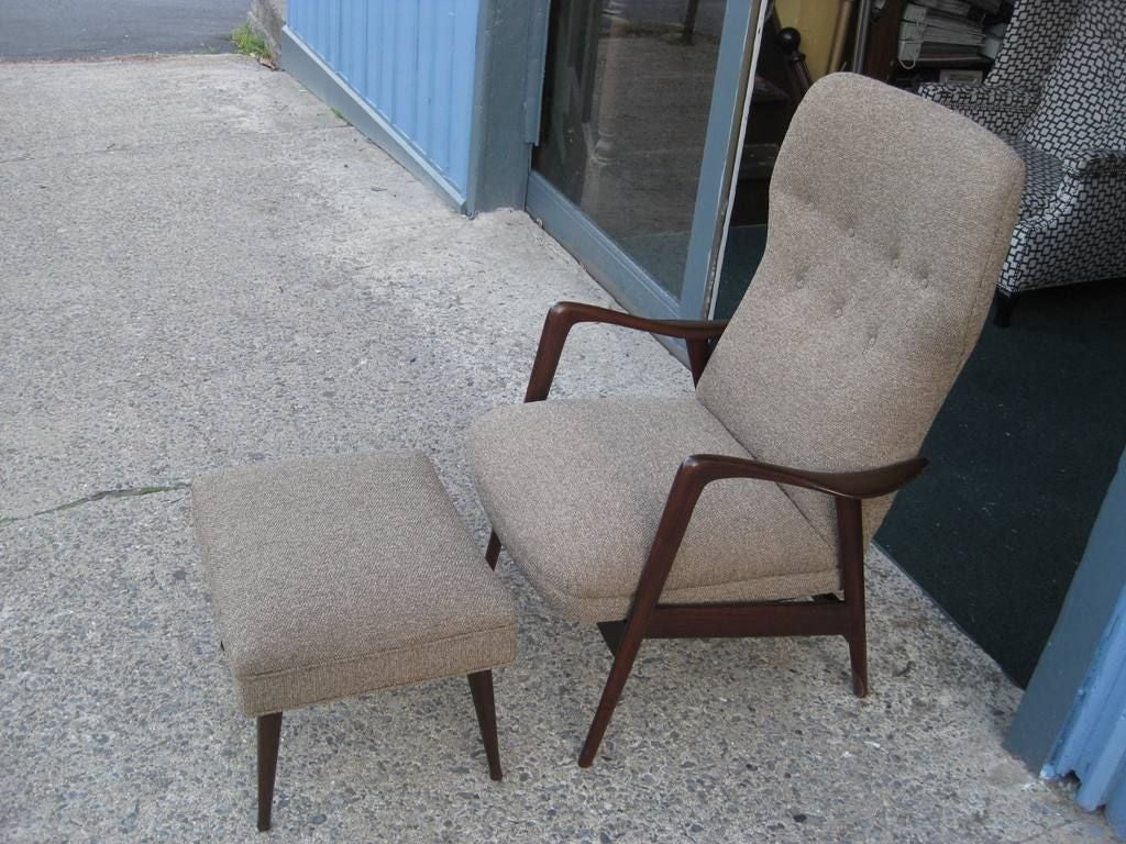 gio ponti style most comfortable rocking chair and ottoman at 1stdibs