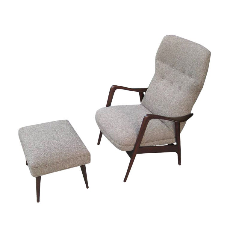 Gio Ponti Style Most Comfortable Rocking Chair And Ottoman For