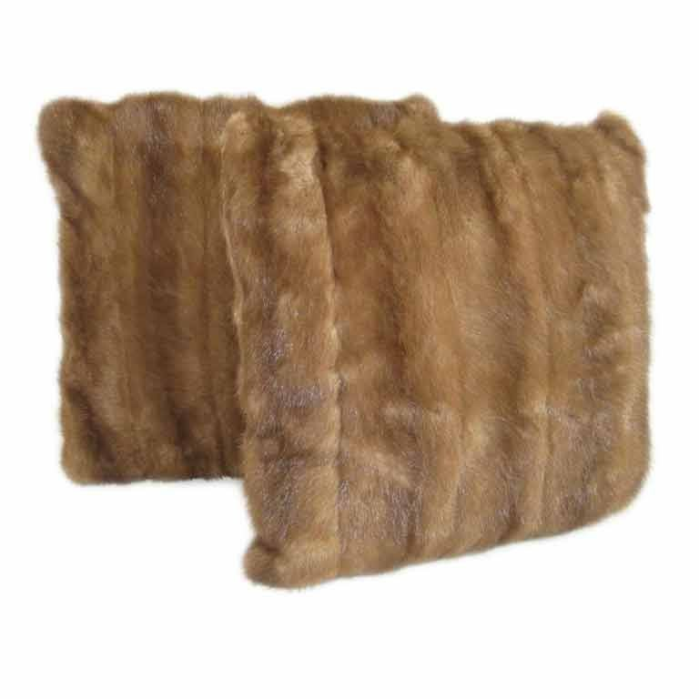 Luxurious single fur pillow or a pair of brown mink, also available in silver fur and white fox, exquisite in feel and look, all new construction with down inserts, taupe ultrasuede backing, priced individually, will discount as a pair, makes for