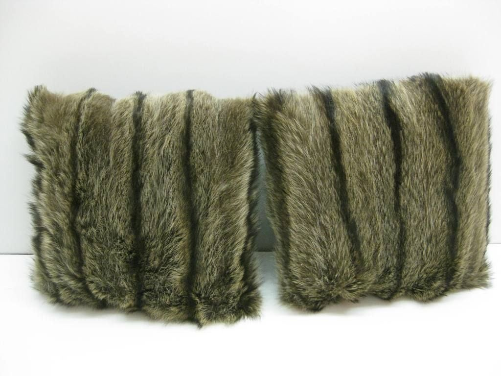 20th Century Selection of Luxurious Single and Pairs of Mink, Fox, Fur Pillows For Sale