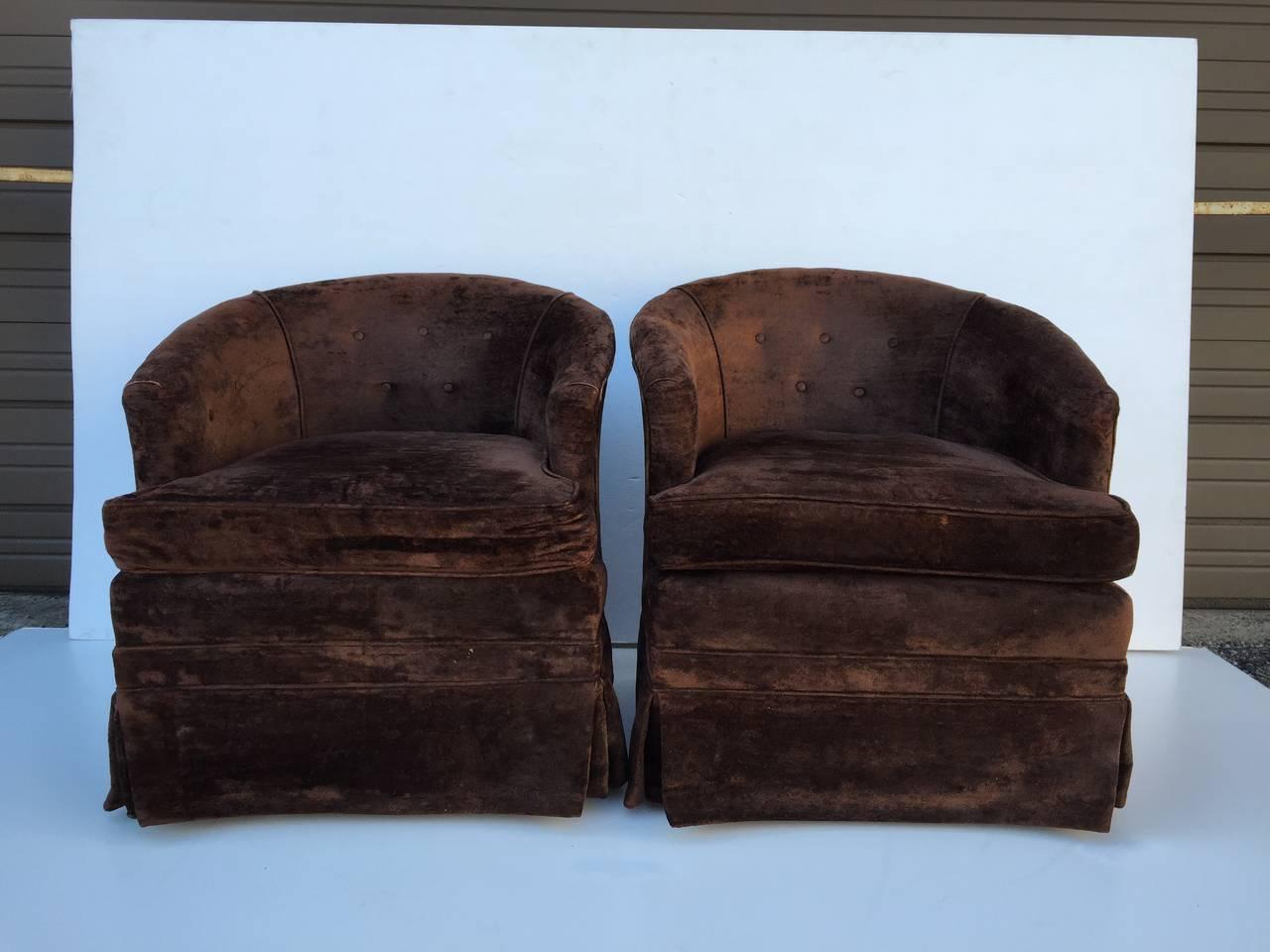 Pair Of Petit Swivel Rocking Barrel Chairs At 1stdibs
