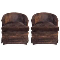 Pair of Petit Swivel Rocking Barrel Chairs