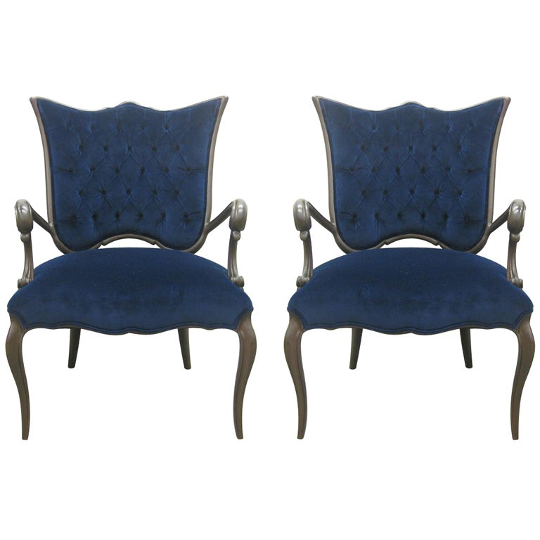 blue velvet newly upholstered pair of italian chairs for sale at 1stdibs. Black Bedroom Furniture Sets. Home Design Ideas