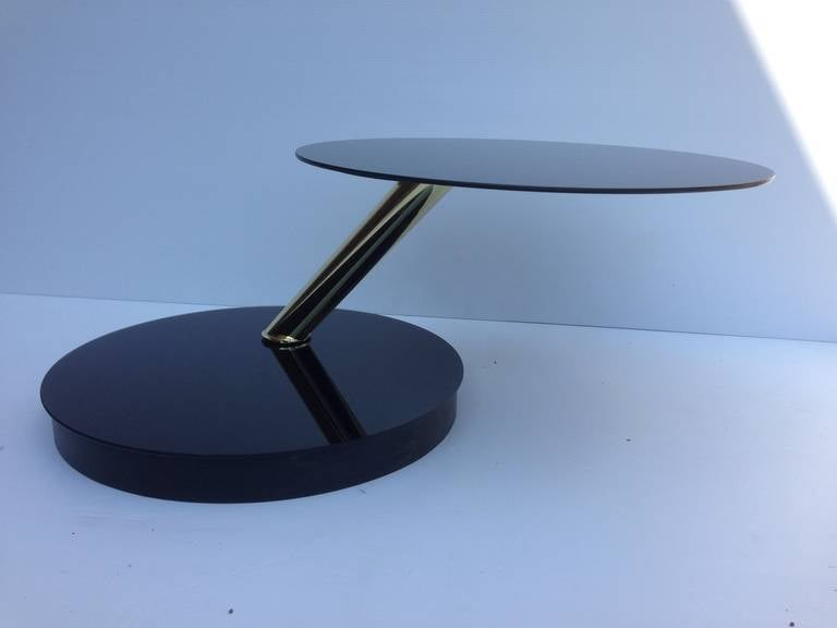 Accenttric swivel top side, end or coffee table, in the style of Karl Springer extends to 41