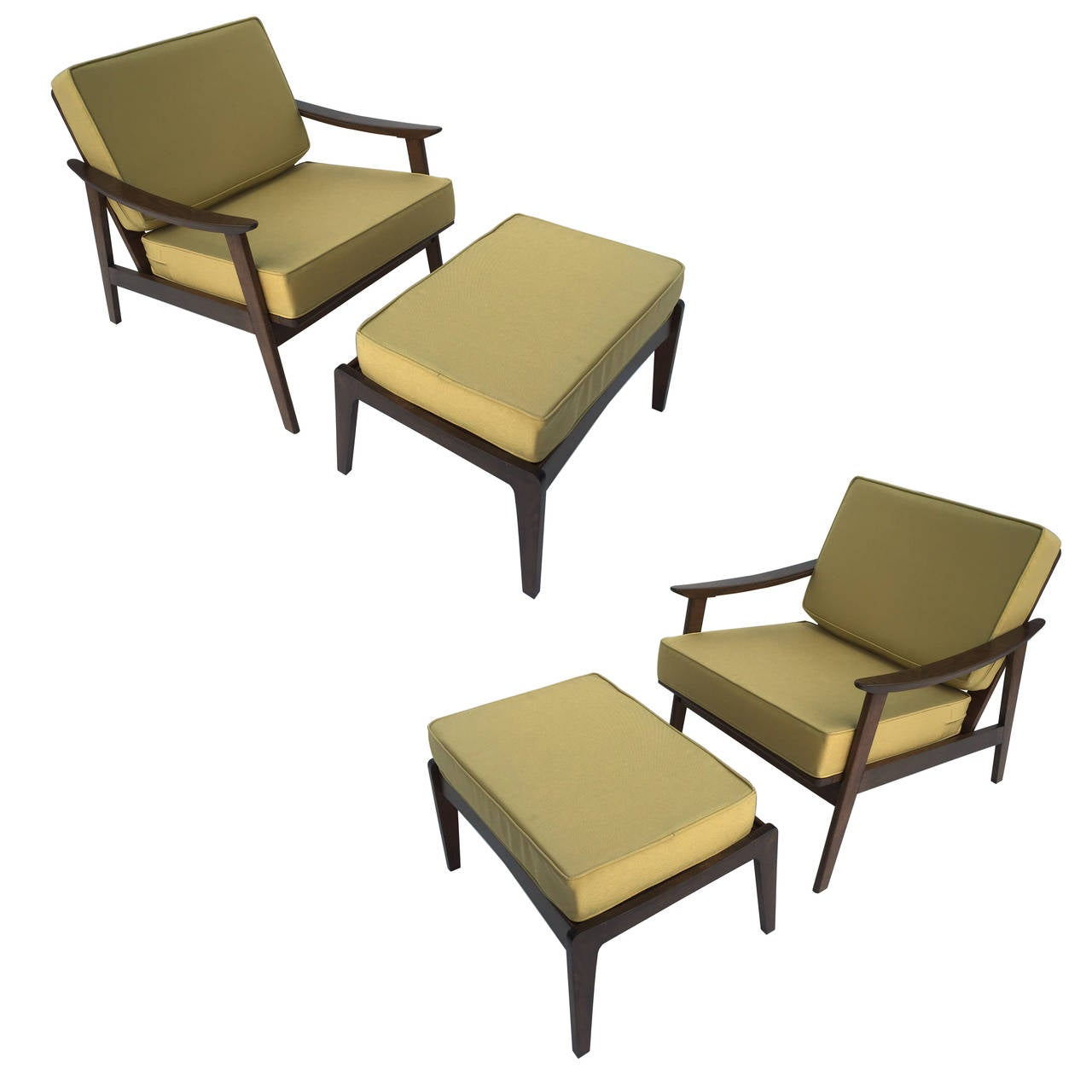 Pair of Danish Chairs with Ottomans