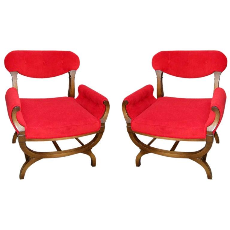 Pair of Red Bergères