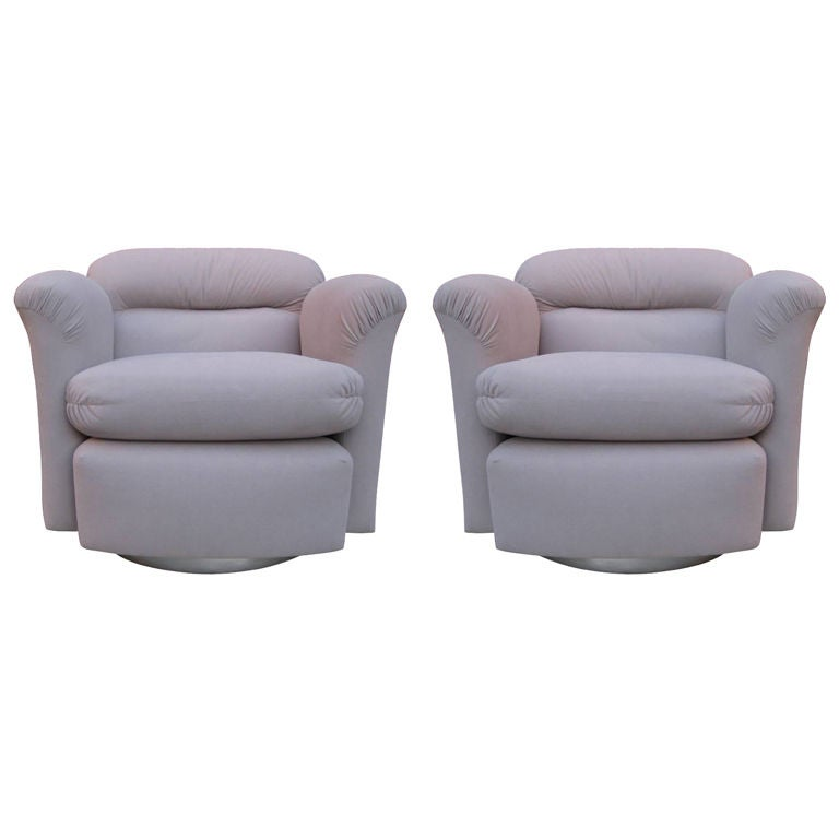 Petit Pair of Swivel Barrel Chairs