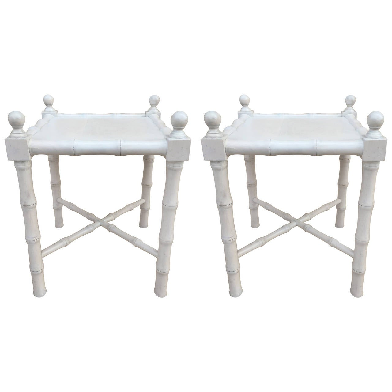 Pair of Petit Whitewashed Faux Bamboo Side Tables For Sale