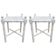 Pair of Petit Whitewashed Faux Bamboo Side Tables