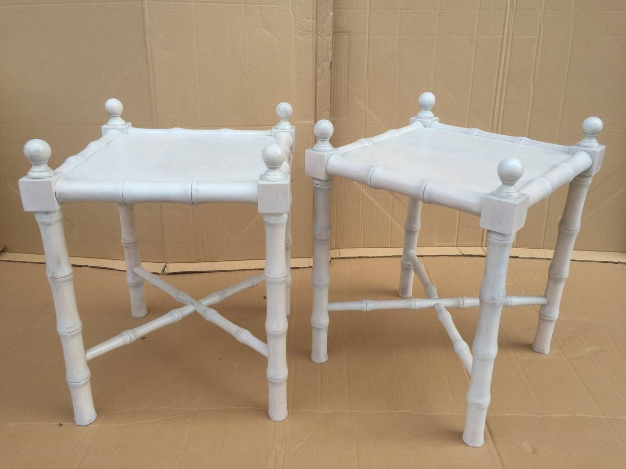 Pair of Mid-Century Modern small white washed faux bamboo end or nightstand tables.  This item is on sale for a clearance price.